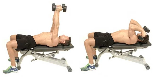 french bench press with dumbbells lying